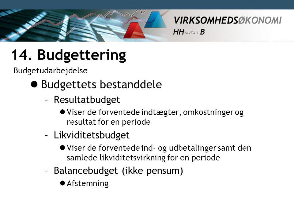 14. Budgettering Budgettets bestanddele Resultatbudget