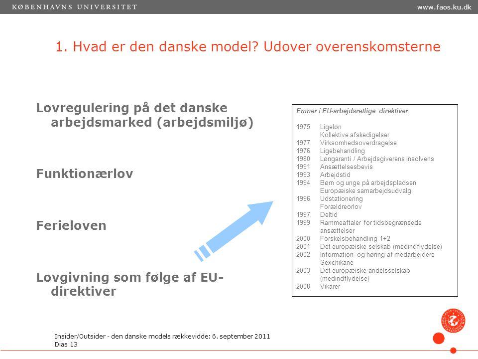 1. Hvad er den danske model Udover overenskomsterne
