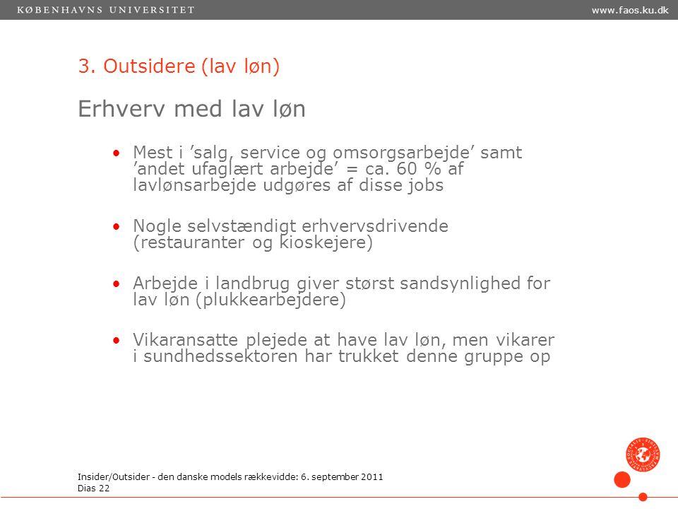 Erhverv med lav løn 3. Outsidere (lav løn)