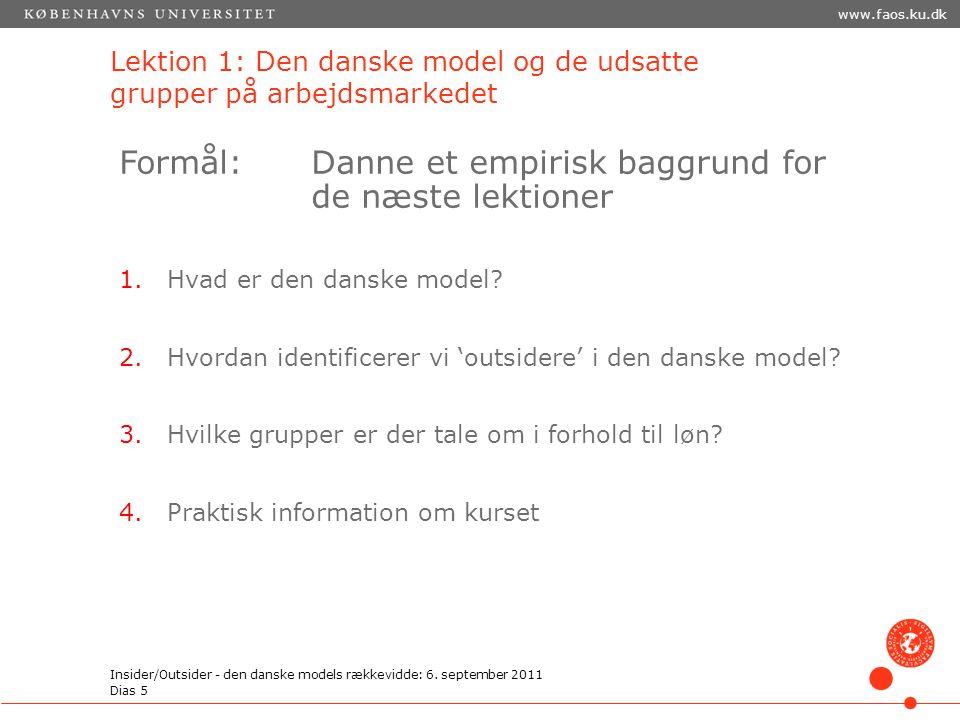 Lektion 1: Den danske model og de udsatte grupper på arbejdsmarkedet