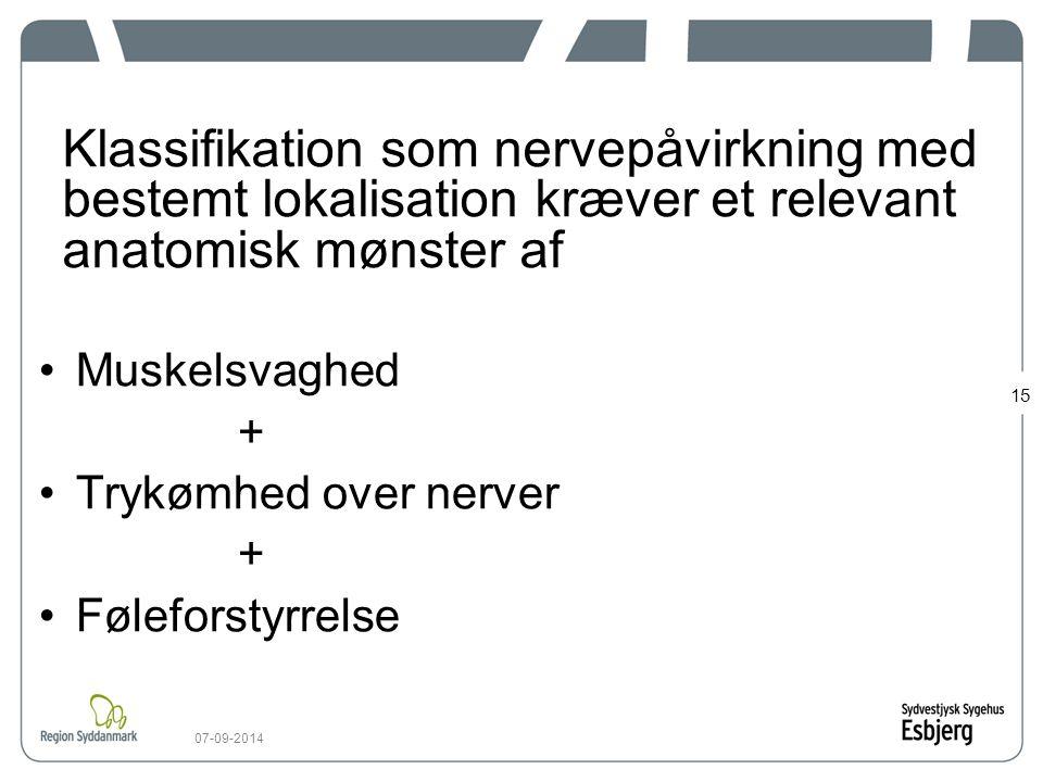 Klassifikation som nervepåvirkning med bestemt lokalisation kræver et relevant anatomisk mønster af