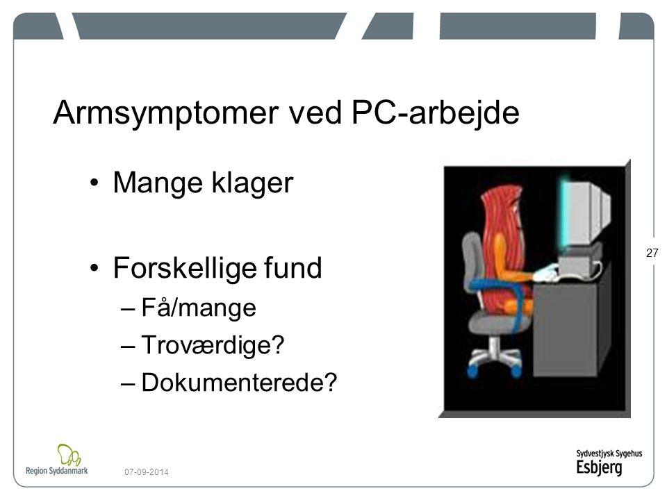 Armsymptomer ved PC-arbejde