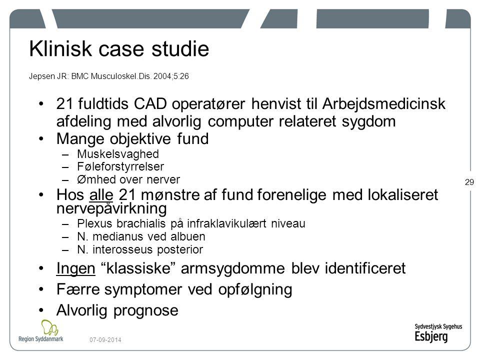 Klinisk case studie Jepsen JR: BMC Musculoskel.Dis. 2004;5:26