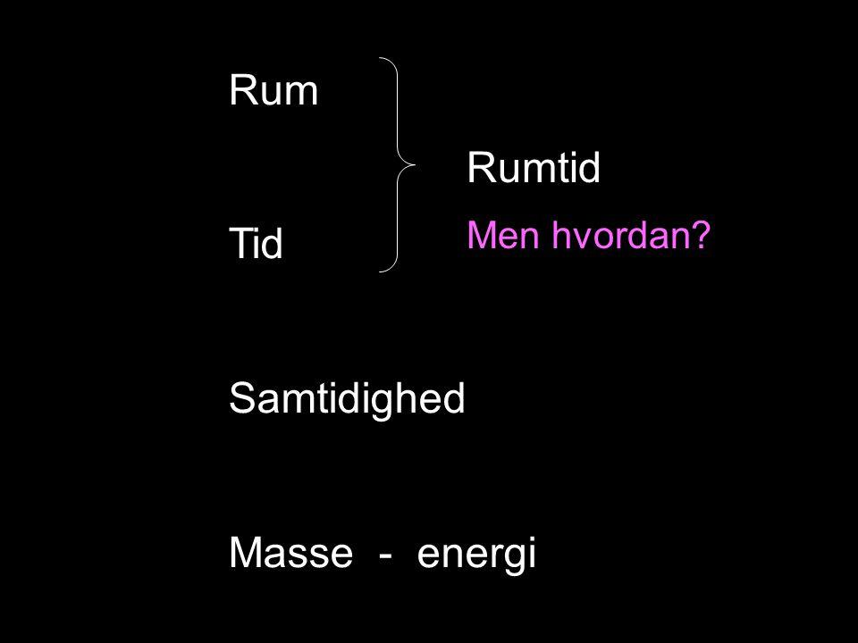 Rum Tid Samtidighed Masse - energi Rumtid Men hvordan