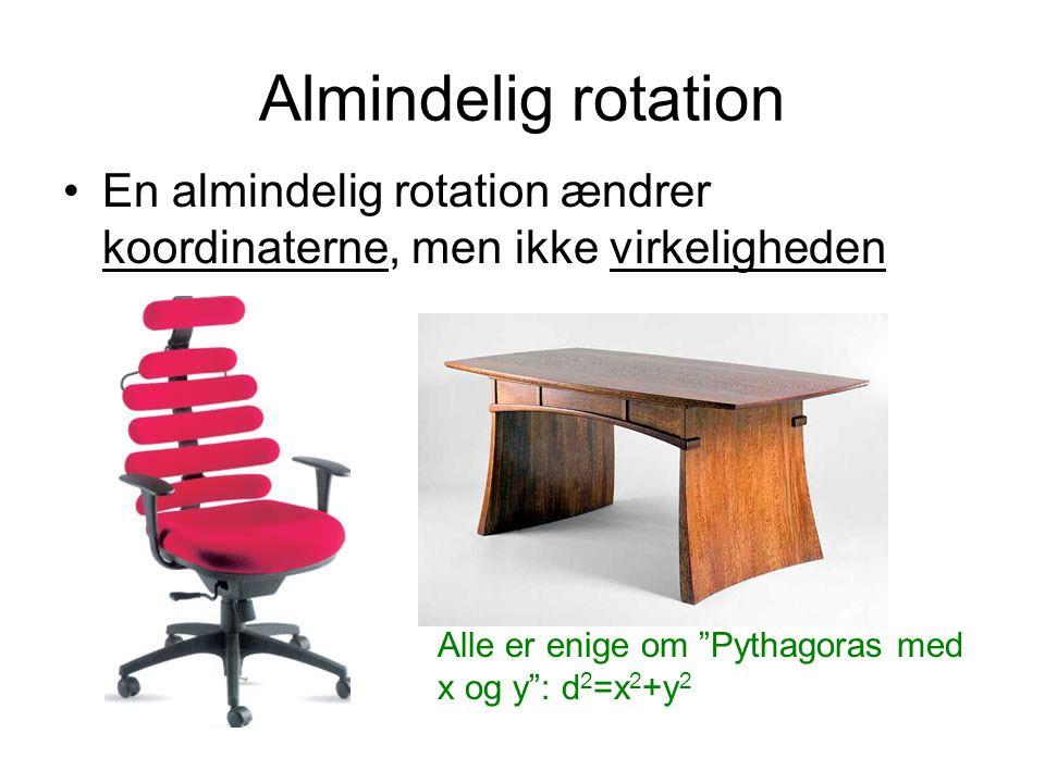 Almindelig rotation En almindelig rotation ændrer koordinaterne, men ikke virkeligheden.