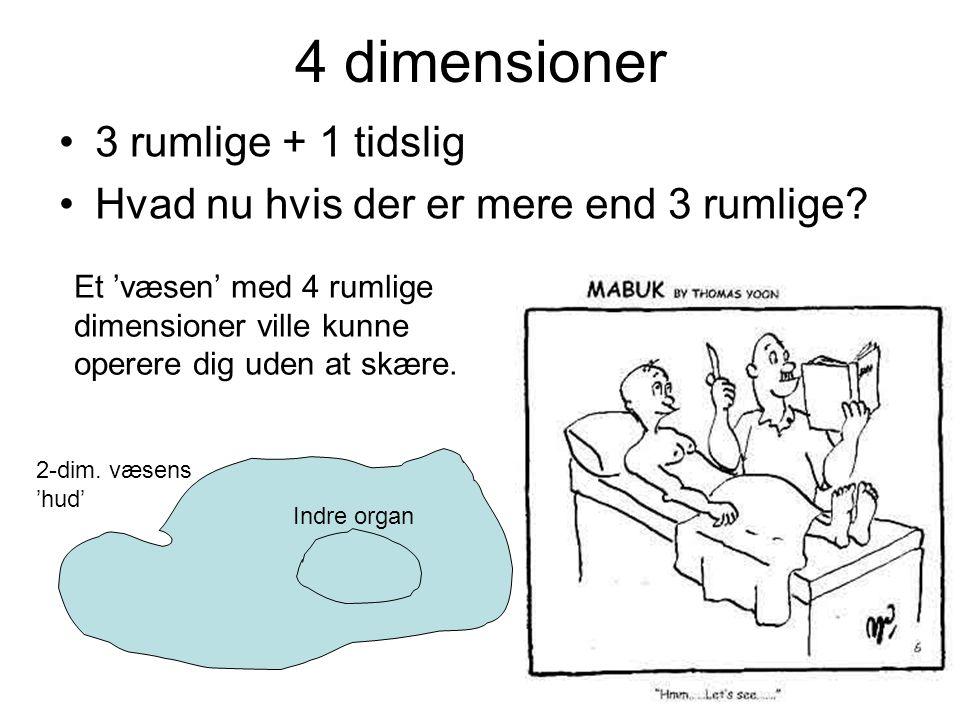 4 dimensioner 3 rumlige + 1 tidslig