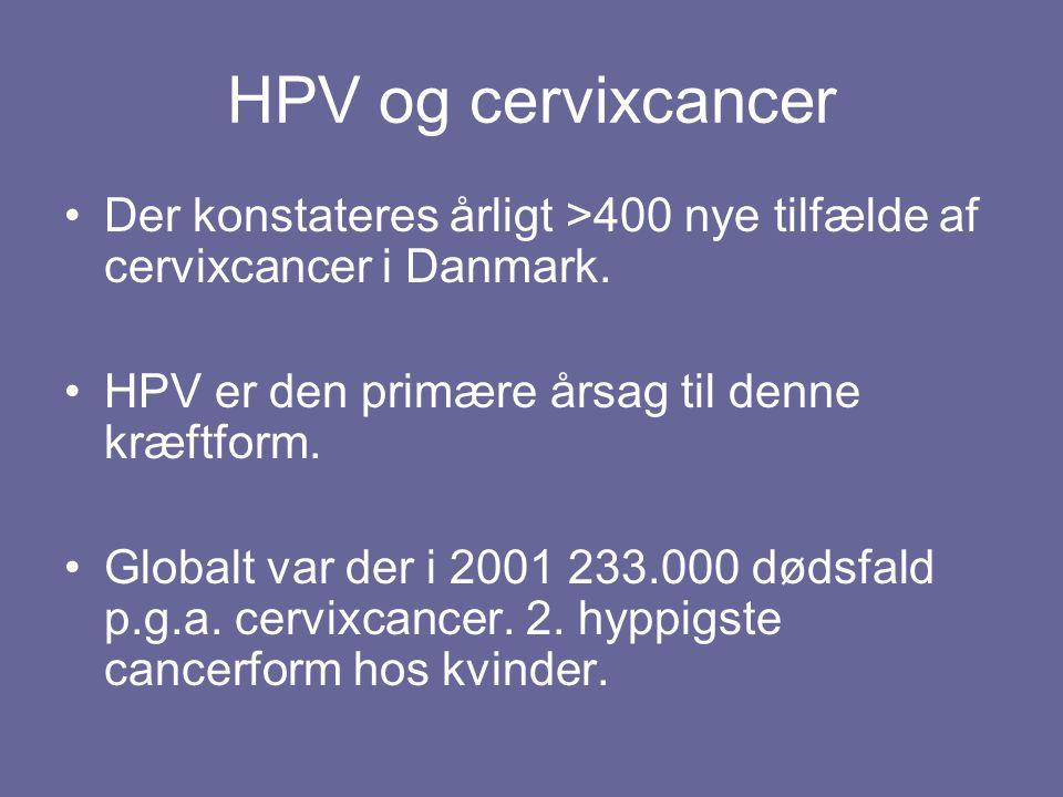 HPV og cervixcancer Der konstateres årligt >400 nye tilfælde af cervixcancer i Danmark. HPV er den primære årsag til denne kræftform.