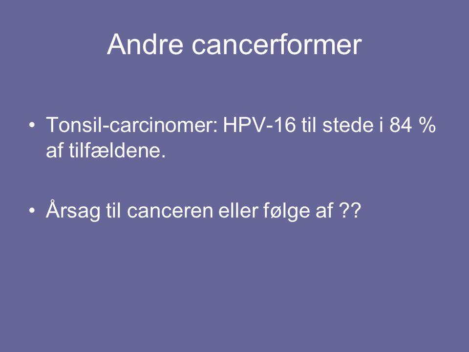 Andre cancerformer Tonsil-carcinomer: HPV-16 til stede i 84 % af tilfældene.