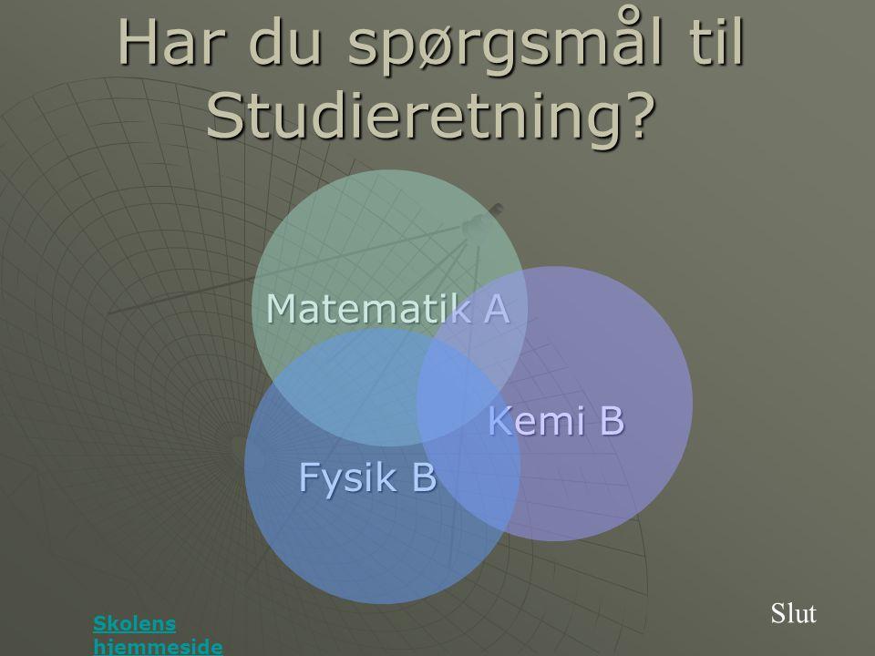 Har du spørgsmål til Studieretning