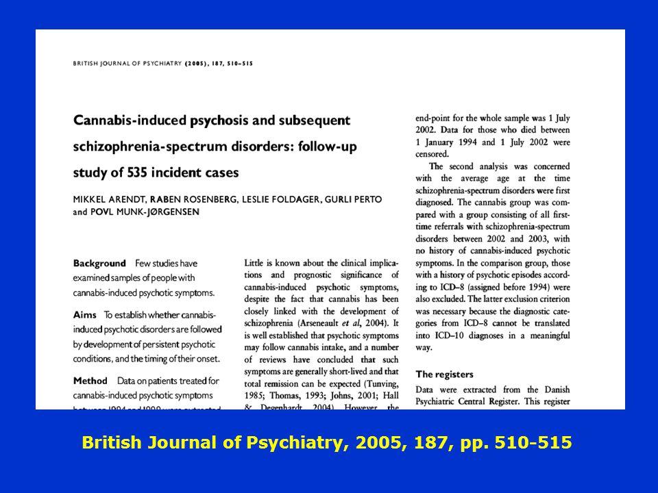 British Journal of Psychiatry, 2005, 187, pp. 510-515
