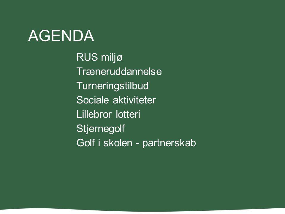AGENDA RUS miljø Træneruddannelse Turneringstilbud Sociale aktiviteter Lillebror lotteri Stjernegolf Golf i skolen - partnerskab
