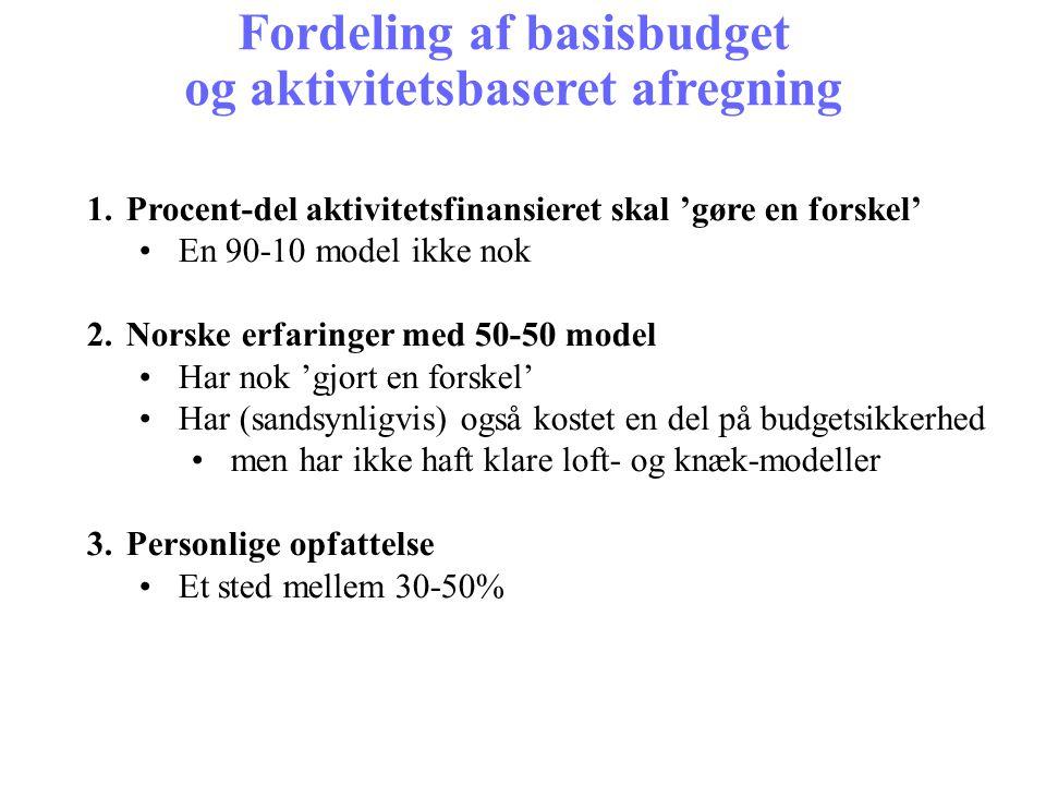 Fordeling af basisbudget og aktivitetsbaseret afregning