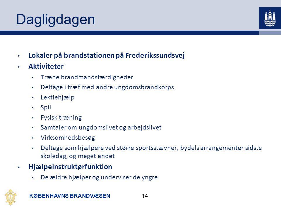 Dagligdagen Lokaler på brandstationen på Frederikssundsvej Aktiviteter