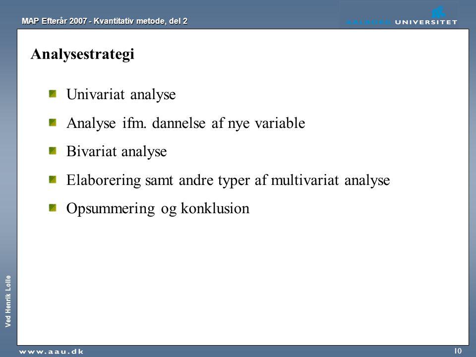 Analysestrategi Univariat analyse. Analyse ifm. dannelse af nye variable. Bivariat analyse. Elaborering samt andre typer af multivariat analyse.