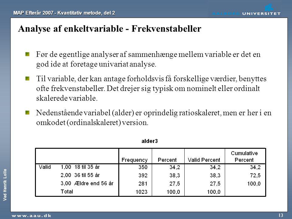 Analyse af enkeltvariable - Frekvenstabeller