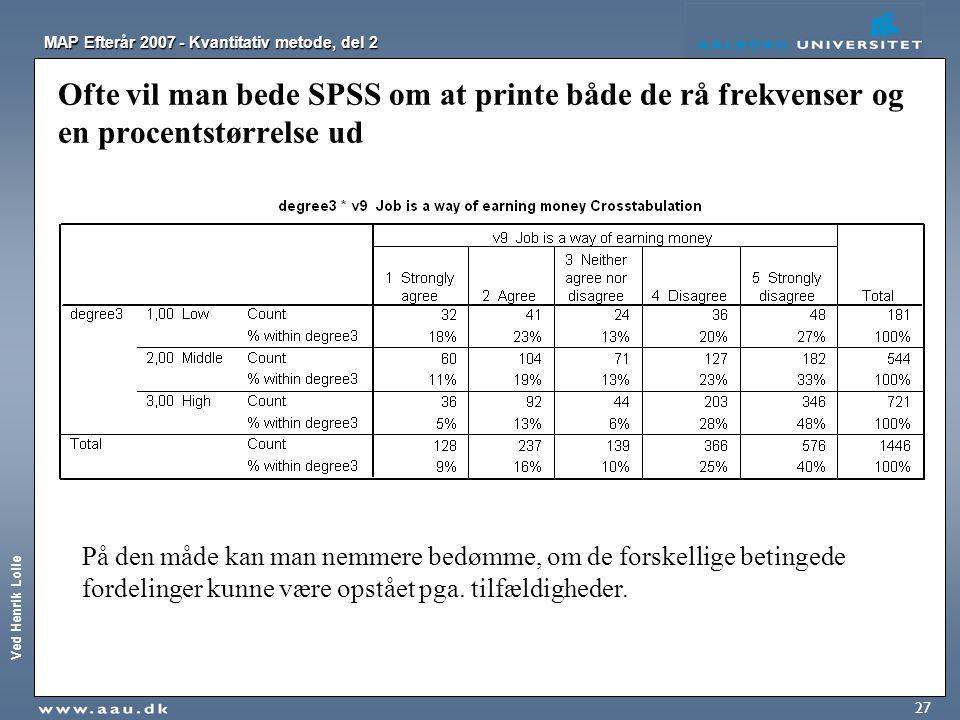 Ofte vil man bede SPSS om at printe både de rå frekvenser og en procentstørrelse ud