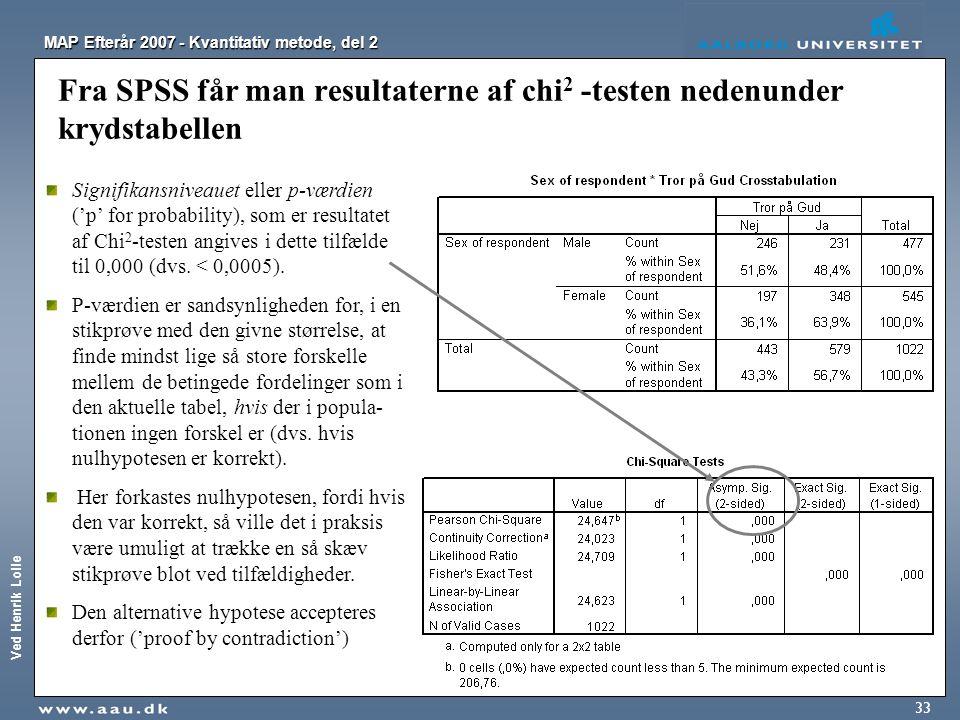 Fra SPSS får man resultaterne af chi2 -testen nedenunder krydstabellen