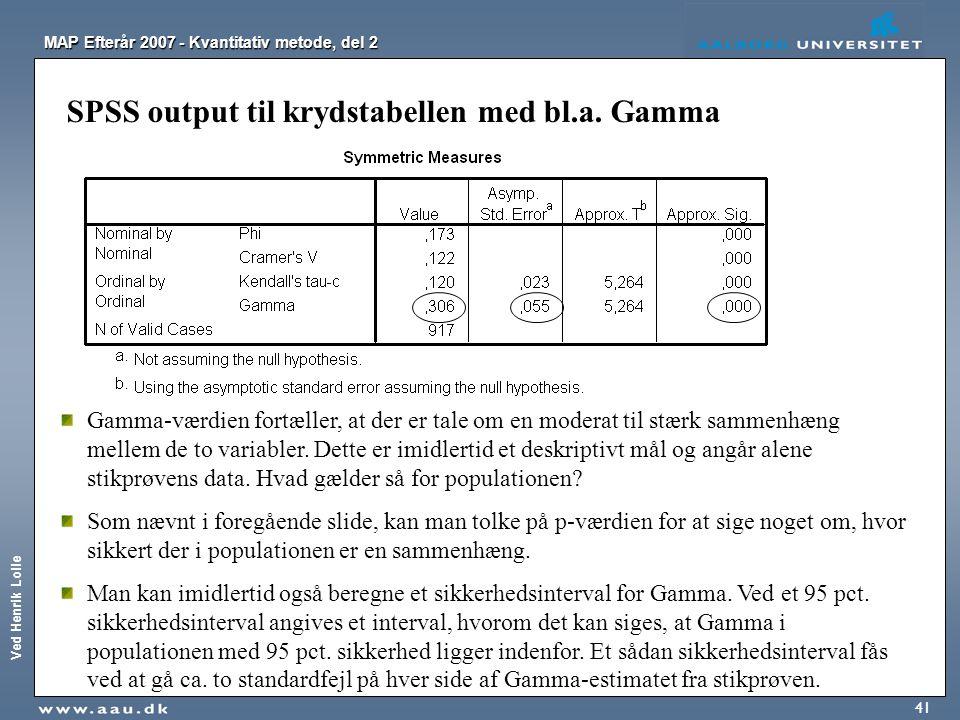SPSS output til krydstabellen med bl.a. Gamma