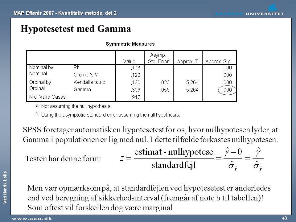 Hypotesetest med Gamma