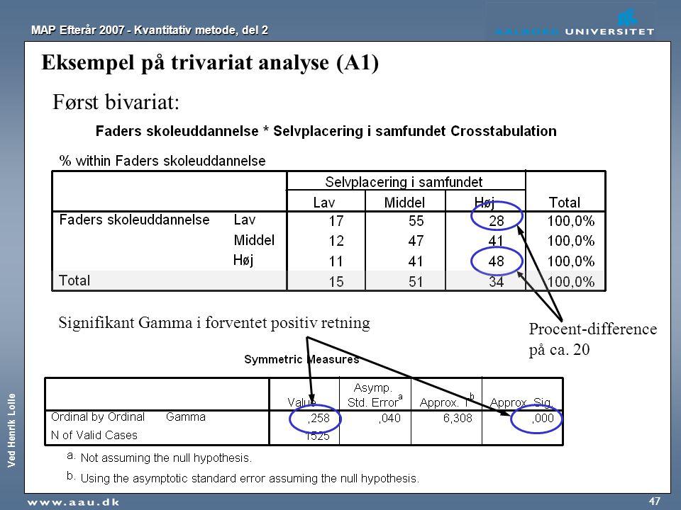 Eksempel på trivariat analyse (A1)