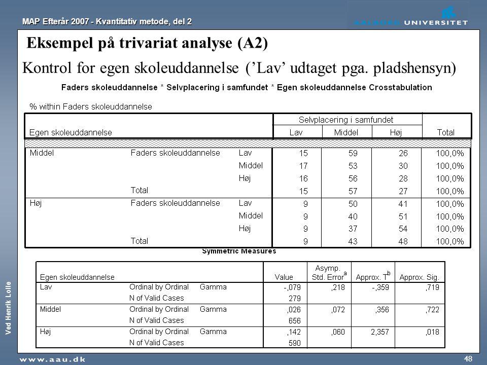 Eksempel på trivariat analyse (A2)