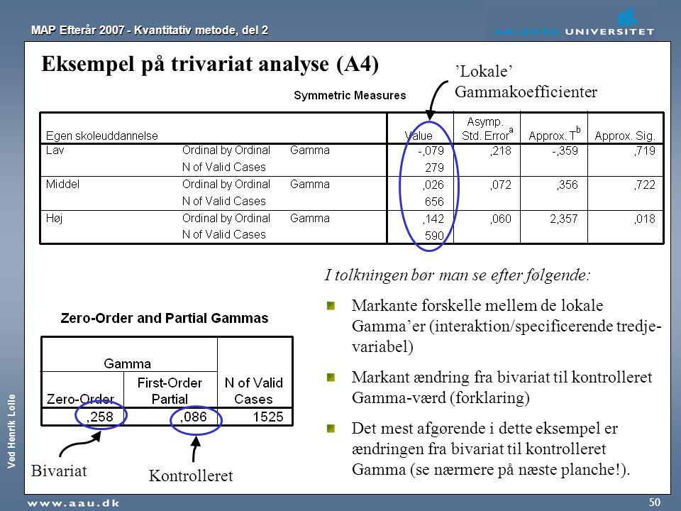Eksempel på trivariat analyse (A4)