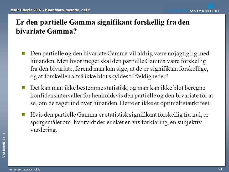 Er den partielle Gamma signifikant forskellig fra den bivariate Gamma