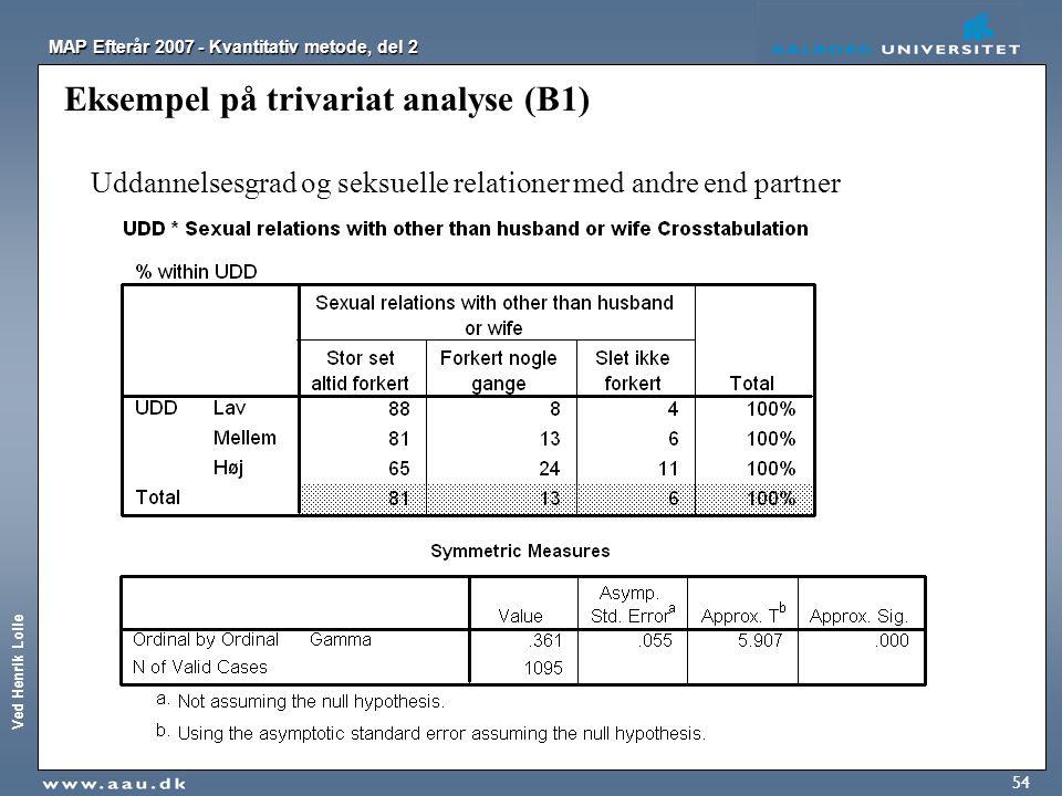 Eksempel på trivariat analyse (B1)