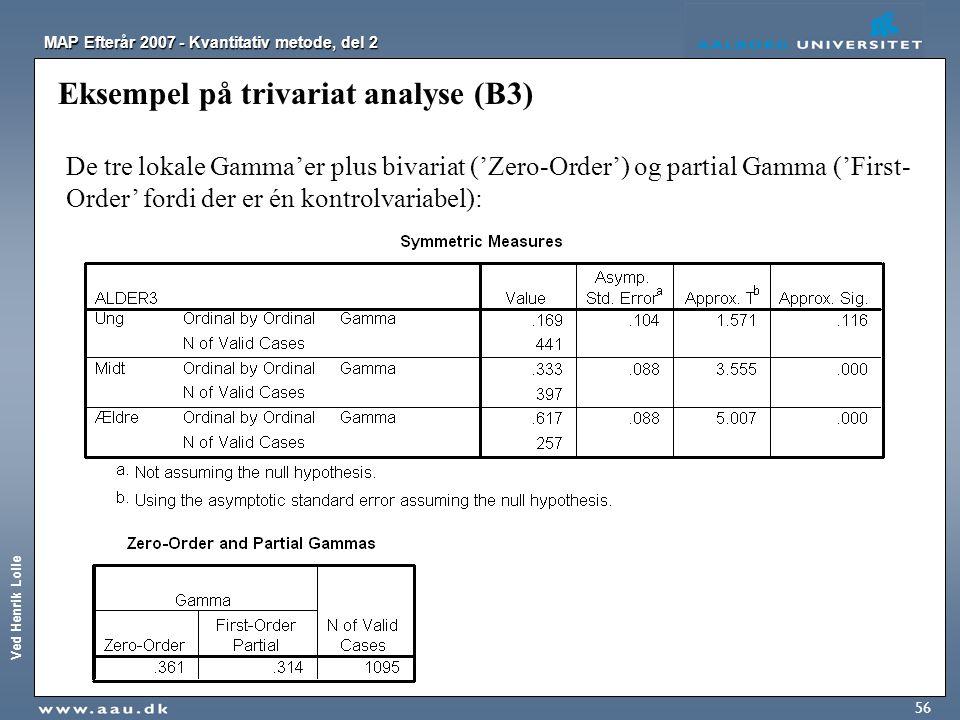 Eksempel på trivariat analyse (B3)