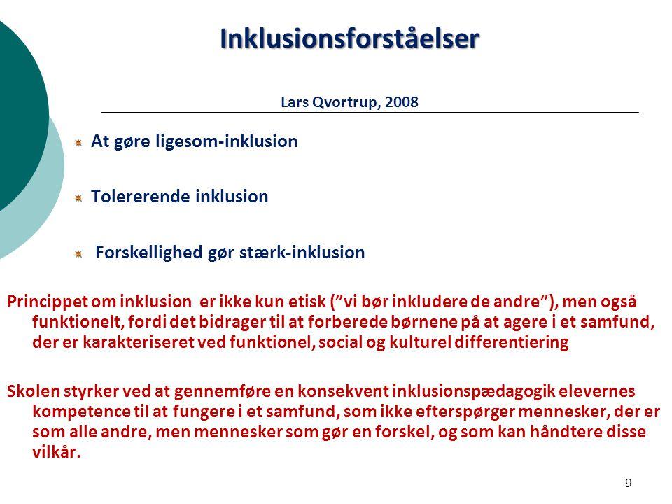 Inklusionsforståelser Lars Qvortrup, 2008