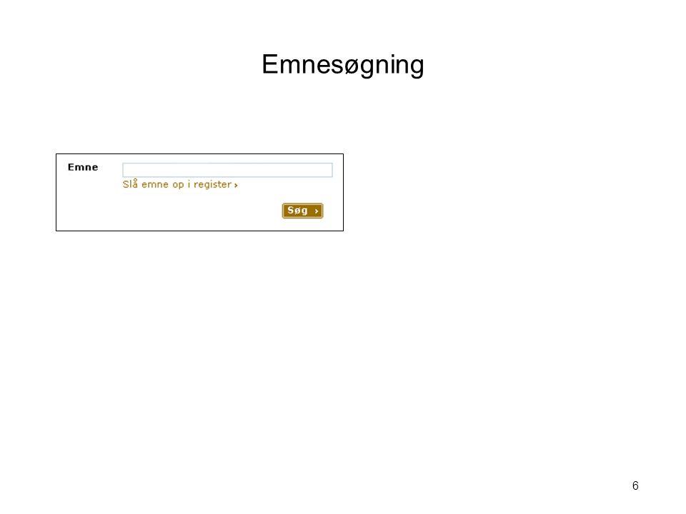 Emnesøgning Visualisering nr. 6 Søgning i emneordsregister 6