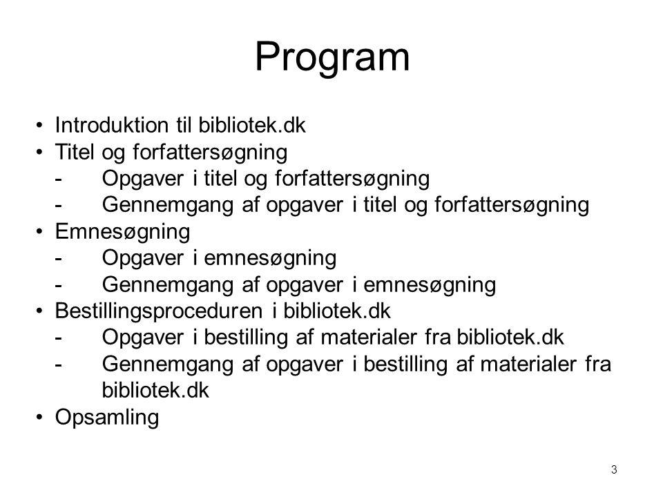Program Introduktion til bibliotek.dk