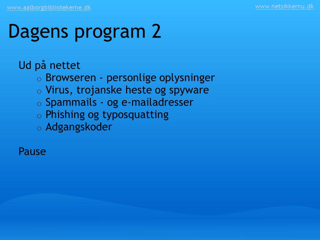 Dagens program 2 Ud på nettet Browseren - personlige oplysninger