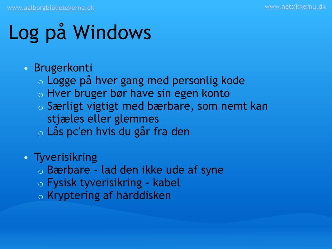 Log på Windows Brugerkonti Logge på hver gang med personlig kode