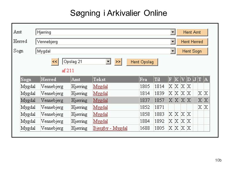 Søgning i Arkivalier Online
