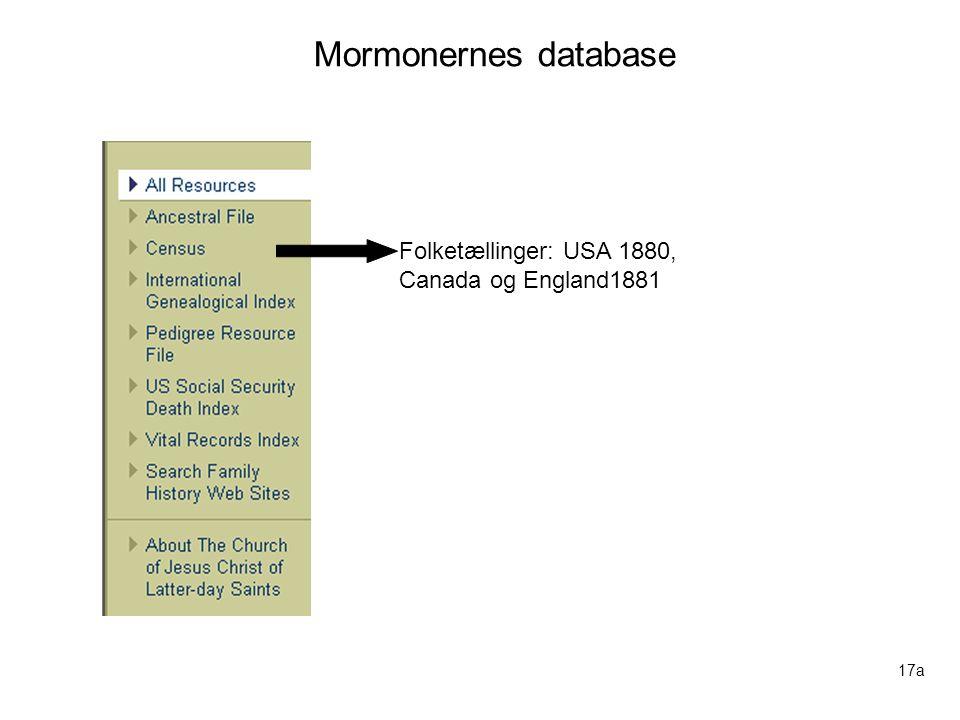 Mormonernes database Folketællinger: USA 1880, Canada og England1881