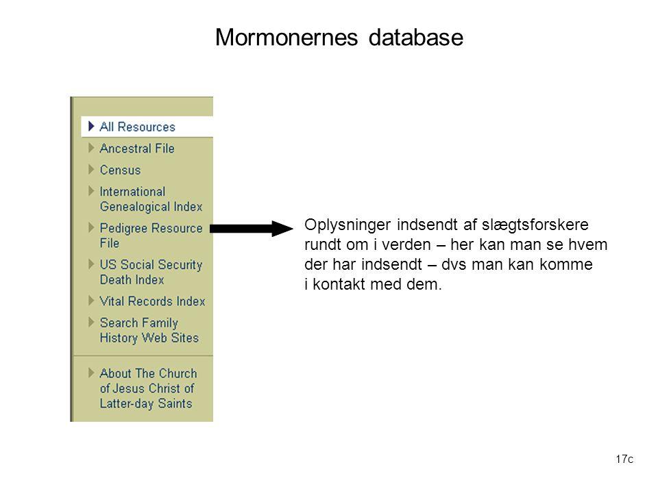 Mormonernes database Oplysninger indsendt af slægtsforskere