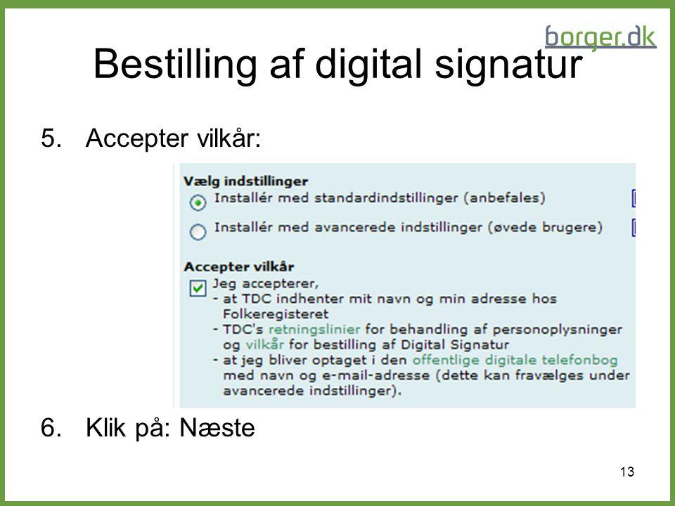 Bestilling af digital signatur