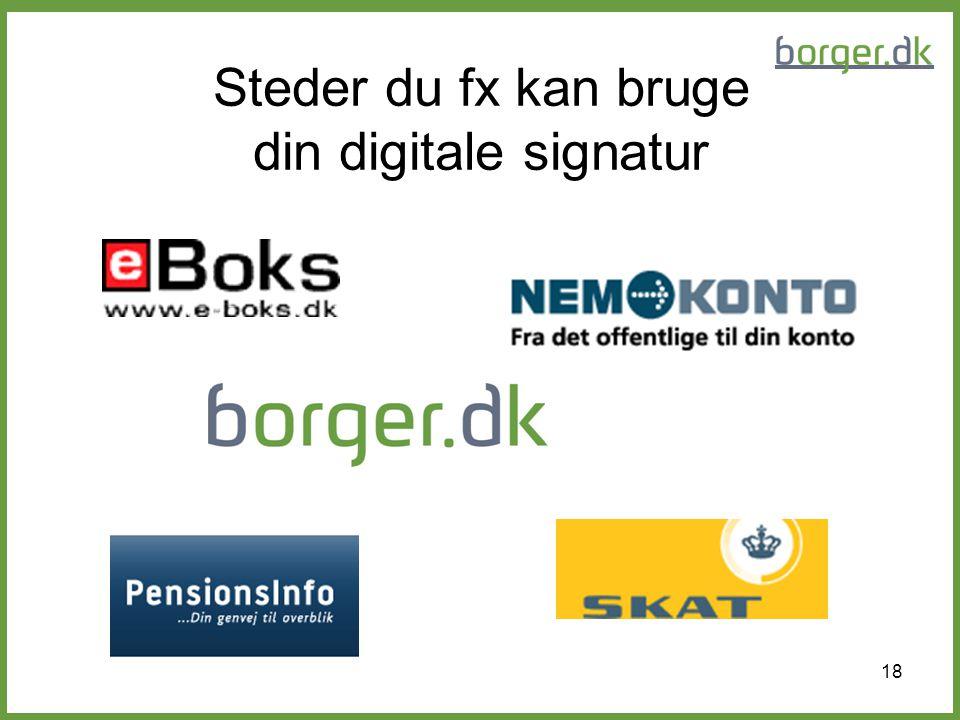 Steder du fx kan bruge din digitale signatur