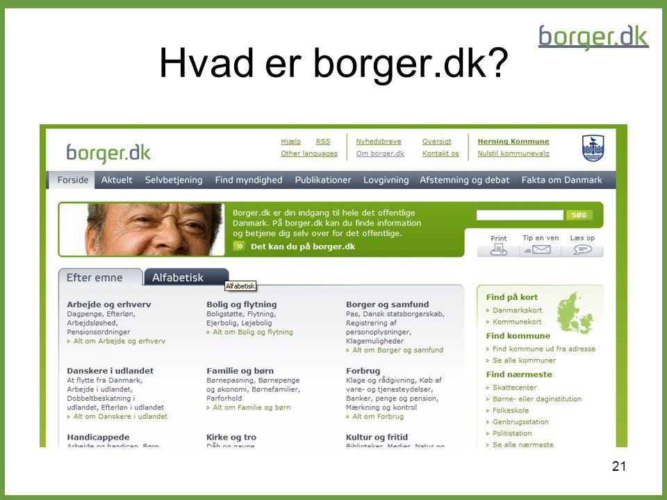 Hvad er borger.dk Sådan ser forside ud!
