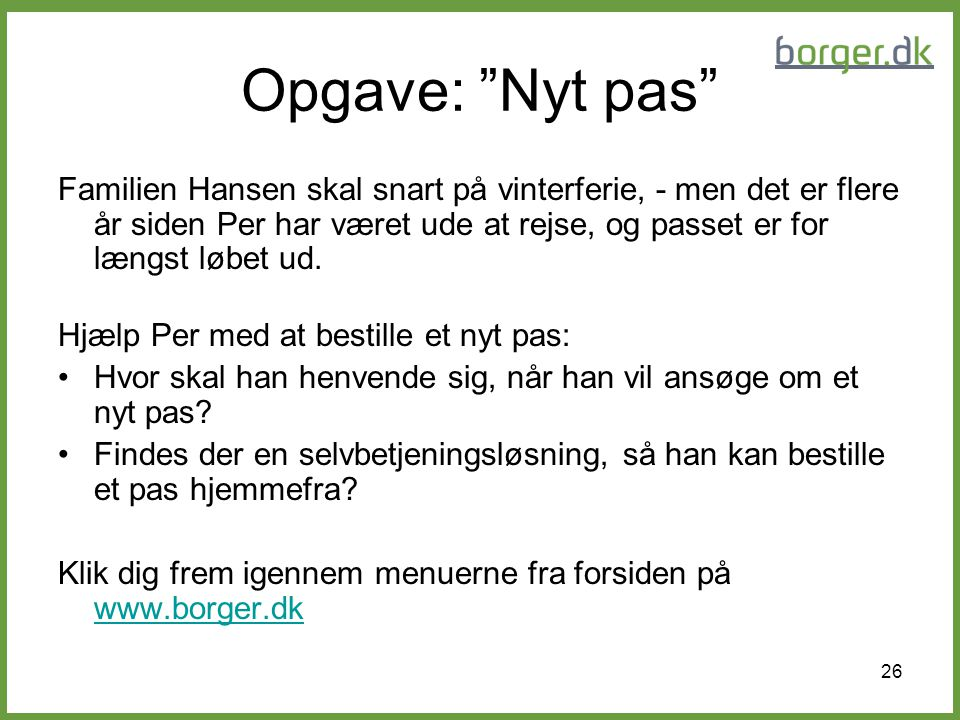 Opgave: Nyt pas
