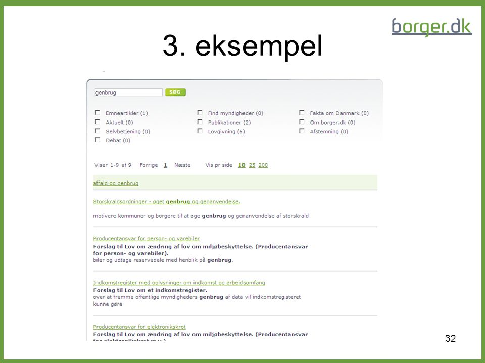 3. eksempel Her er søgeresultatet for en søgning med ordet: genbrug
