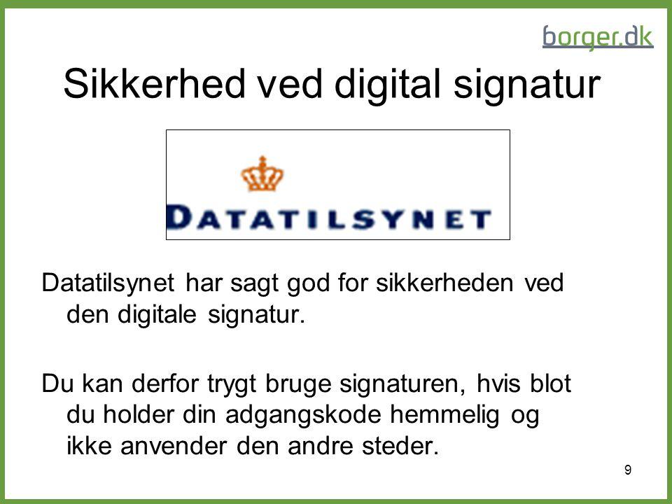 Sikkerhed ved digital signatur