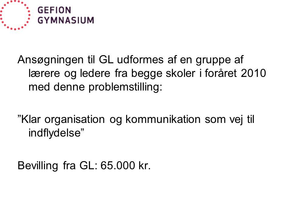 Ansøgningen til GL udformes af en gruppe af lærere og ledere fra begge skoler i foråret 2010 med denne problemstilling: