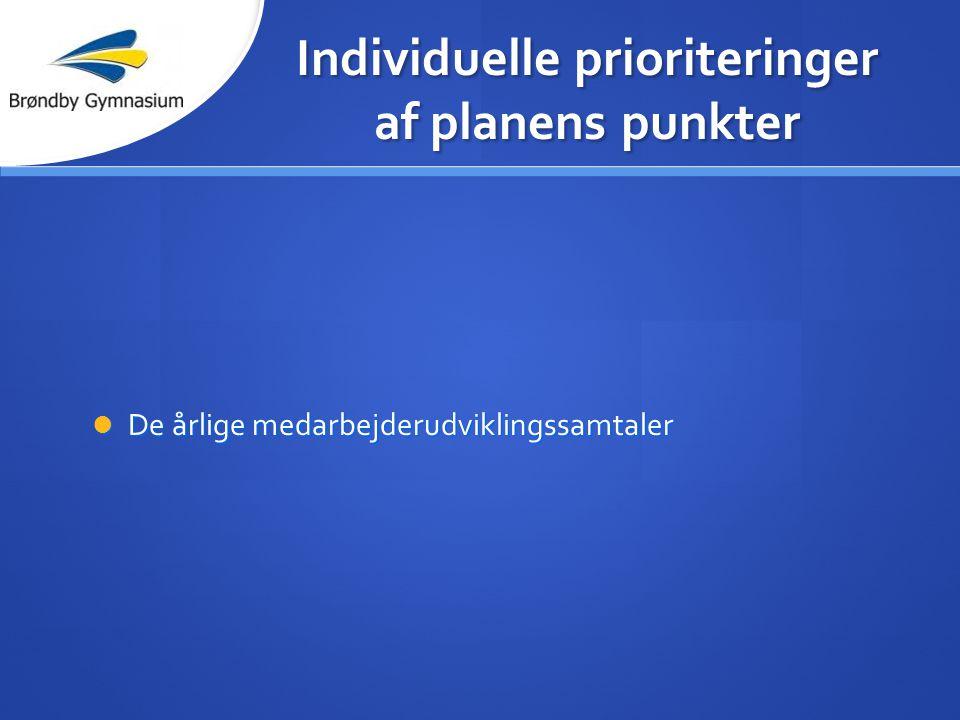 Individuelle prioriteringer af planens punkter