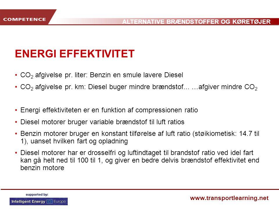ENERGI EFFEKTIVITET CO2 afgivelse pr. liter: Benzin en smule lavere Diesel.