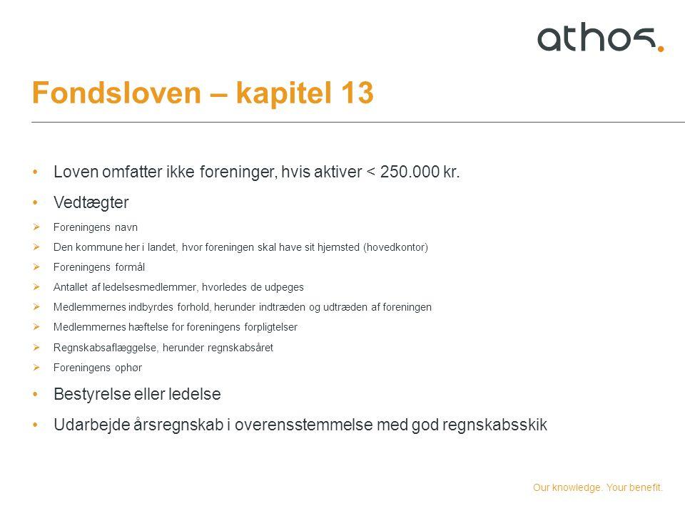 Fondsloven – kapitel 13 Loven omfatter ikke foreninger, hvis aktiver < 250.000 kr. Vedtægter. Foreningens navn.