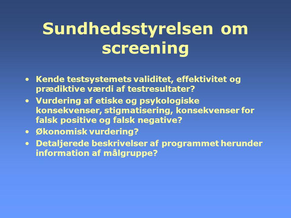 Sundhedsstyrelsen om screening