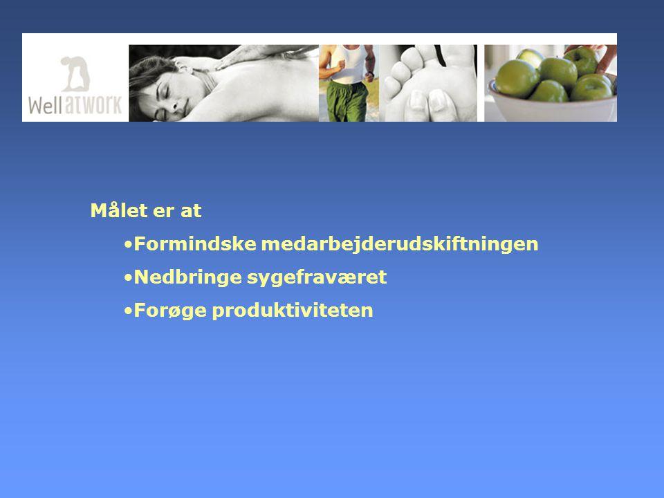 Målet er at Formindske medarbejderudskiftningen Nedbringe sygefraværet Forøge produktiviteten