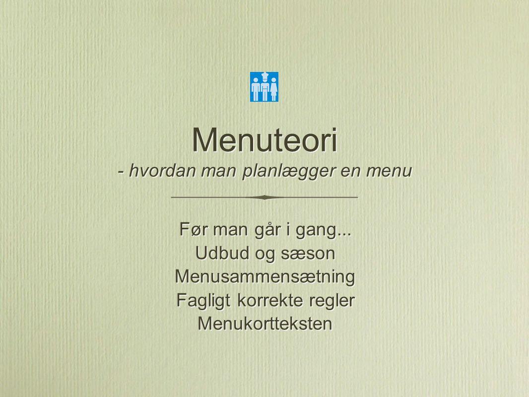 Menuteori - hvordan man planlægger en menu